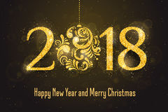 Vector 2018 Happy New Year greeting card Stock Photography