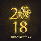 Vector 2018 Happy New Year greeting card Royalty Free Stock Photography
