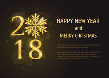 Vector 2018 Happy New Year greeting card Stock Image