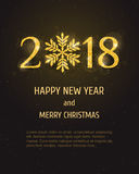 Vector 2018 Happy New Year greeting card Royalty Free Stock Photo