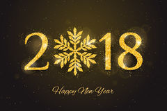 Vector 2018 Happy New Year greeting card. Vector 2018 Happy New Year and Merry Christmas greeting card with sparkling glitter golden textured snowflake. Seasonal Royalty Free Stock Images