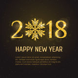 Vector 2018 Happy New Year greeting card. Vector 2018 Happy New Year and Merry Christmas greeting card template with sparkling glitter golden textured snowflake Stock Images