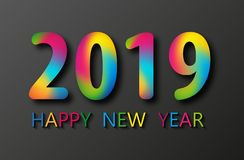 Vector happy new year greeting illustration with colored 2019 numbers. 2019 Happy New Year card design on black background. Vector happy new year greeting stock illustration