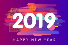 2019 Happy New Year card design stock illustration