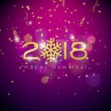 Vector Happy New Year 2018 Illustration on Shiny Colorful Background with Typography Design. EPS 10. Vector Happy New Year 2018 Illustration on Shiny Colorful Royalty Free Stock Photography