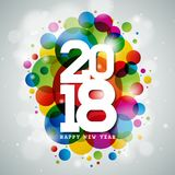 Vector Happy New Year 2018 Illustration on Shiny Colorful Background with Typography Design. EPS 10. Vector Happy New Year 2018 Illustration on Shiny Colorful Stock Photo