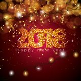 Vector Happy New Year 2018 Illustration on Shiny Colorful Background with Typography Design. EPS 10. Vector Happy New Year 2018 Illustration on Shiny Colorful Royalty Free Stock Images