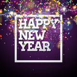 Vector Happy New Year 2018 Illustration with Typography Design and Light Garland on Shiny Confetti Background. EPS 10. Vector Happy New Year 2018 Illustration Stock Photos