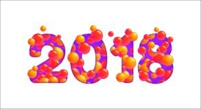 Vector 2018 Happy New Year isolated on white. Bright colorful figures for the design of cards, flyers, congratulations. Trendy modern design element royalty free illustration