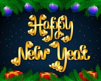 Vector Happy New Year lettering composition made of golden festi. Happy New Year lettering composition made of golden festive ribbons with confetti, christmas Stock Photos