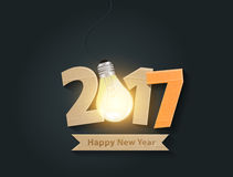 Vector happy new year 2017 with light bulb idea. Creative happy new year 2017 with light bulb idea design. Vector illustration royalty free illustration