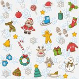 Vector Happy New Year and Merry Christmas pattern Stock Images