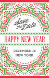 Vector Happy New Year or Merry Christmas theme Save the Date Inv. Itation to the Party Stock Image