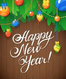 Vector Happy New Year Message and objects on wood background. Royalty Free Stock Images