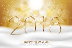 Vector Happy New Year 2018 - New Year Colorful Winter background with gold text. Greetings New Year banner with snow and. Bokeh. Vector EPS 10 Royalty Free Stock Photos