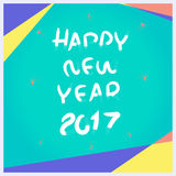 Vector, Happy New year 2017 pencil brush with material design fr. Ames style, Holiday Template mock up for advertising on social media ads Royalty Free Stock Photo