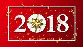 Vector 2018 Happy New Year red background with golden gift bow.  Stock Photos