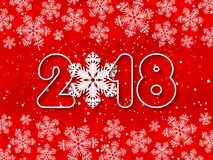 Vector Happy New Year 2018 red paper cut out background Stock Images