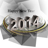 Vector happy new year 2014 reflection wave  Royalty Free Stock Photography