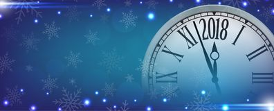 Vector 2018 Happy New Year with retro clock on blue snowflakes b. Ackground for your copy space Royalty Free Stock Photos
