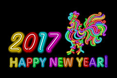 Vector 2017 Happy New Year rooster neon color light. Art Royalty Free Stock Photos