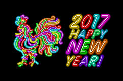 Vector 2017 Happy New Year rooster neon color light. Art Royalty Free Stock Image