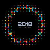 Vector Happy New Year 2018 Technology Card Background. Bright Colorful Disco Lights Halftone Circle Frame. Round border using rainbow colors confetti circle Stock Photos