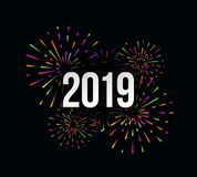 Vector Happy New 2019 Year trendy illustration with festive typographic composition and multicolored fireworks. Vector Happy New 2019 Year trendy illustration royalty free illustration