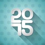Vector Happy New Year 2015 typographic design on snowflakes background Stock Photos