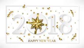 Vector 2018 Happy New Year white background with golden gift bow.  Stock Photography