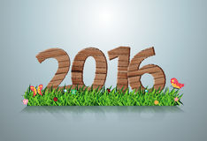 Vector 2016 happy new year wooden sign on green grass Royalty Free Stock Photos