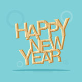 Vector : happy new year with wooden texture on light blue backgr Royalty Free Stock Photos