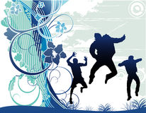 Vector happy people illustration. Young people having fun and being active Stock Image