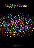 Vector Happy Purim carnival text with colorful rainbow colors paper confetti cloud strip  on black background. Colorful confetti band. Purim Jewish holiday Stock Image