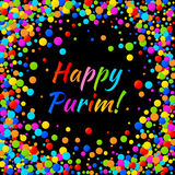 Vector Happy Purim carnival text with colorful rainbow colors paper shiny confetti frame isolated on black background. Birthday template. Purim Jewish holiday Stock Images
