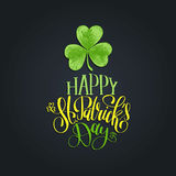 Vector Happy Saint Patrick`s Day hand lettering greetings card or poster design. Sketched illustration of irish shamrock Royalty Free Stock Image