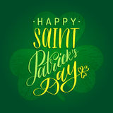 Vector Happy Saint Patrick`s Day hand lettering greetings card or poster design. Sketched illustration of irish shamrock Stock Images