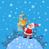 vector Happy Santa Claus brings of many gifts Stock Image