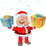 Vector Happy Santa Claus holding a gift Royalty Free Stock Photography