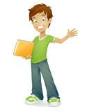 Vector happy school boy smiling waving Stock Photo