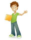 Vector happy school boy smiling waving. Vector cartoon school boy with book smiling and waving  on white Stock Photo