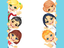 Vector happy smile kids and banner royalty free stock photos