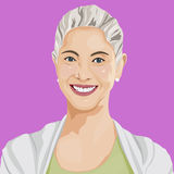 Vector of Happy Smile Lady Portrait Art Concept.  Royalty Free Stock Images