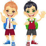 Vector happy smiling schoolchildren boys Royalty Free Stock Images