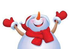 Vector happy snowman cartoon isolated. Royalty Free Stock Photos