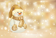 Vector of happy snowman on golden background. Stock Photo