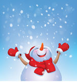 Vector happy snowman and snowfall. Stock Image