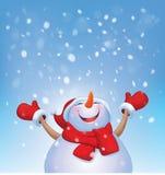 Vector happy snowman and snowfall. Stock Image
