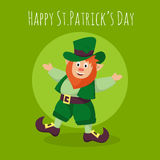 Vector Happy St.Patrick's Day greeting card with Leprechaun Stock Image