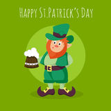 Vector Happy St.Patrick's Day greeting card with Leprechaun Stock Photo